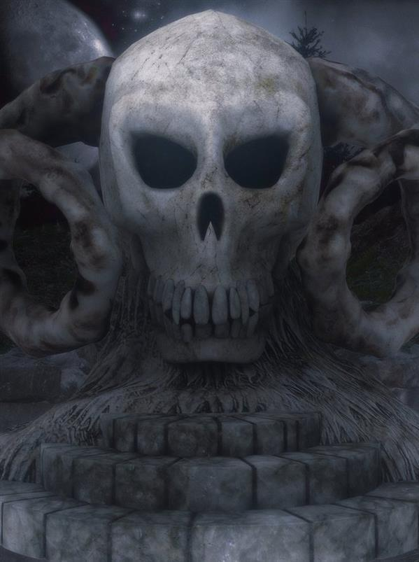 Skull Statue Photoshop Stock