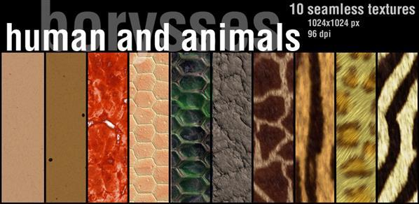 Human and animals skin fur and leather textures