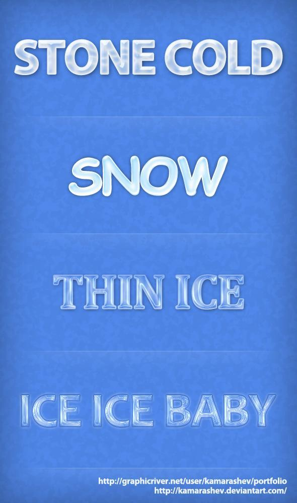 Winter Ice Font Styles by Kamarashev photoshop resource collected by psd-dude.com from deviantart