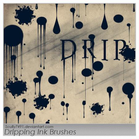Dripping Ink Brushes by Scully7491 photoshop resource collected by psd-dude.com from deviantart