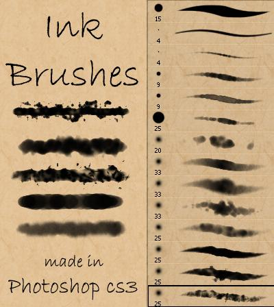 Ink and Watercolor Brushes by Stockry photoshop resource collected by psd-dude.com from deviantart