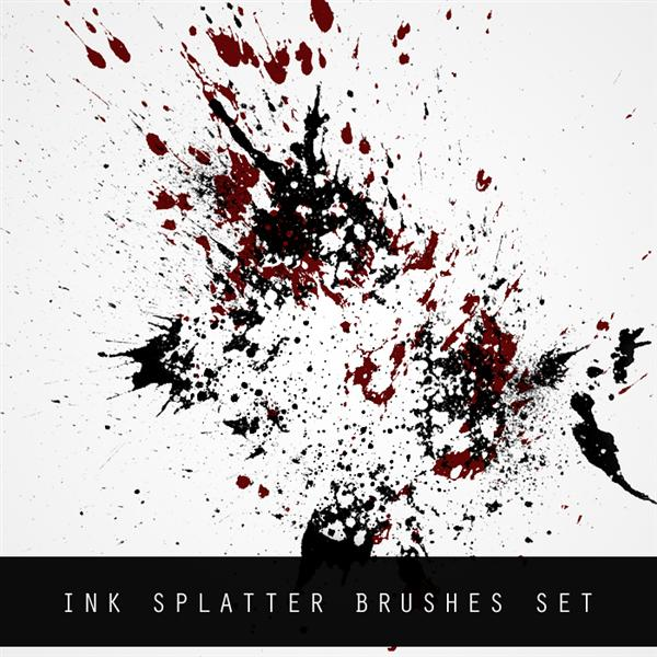 INK SPLATTER BRUSH SET by FlorianHesse photoshop resource collected by psd-dude.com from deviantart