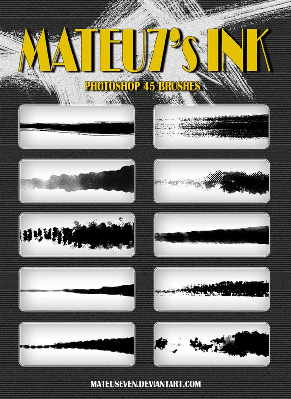 Mateu7s Ink Brushes by mateuseven photoshop resource collected by psd-dude.com from deviantart