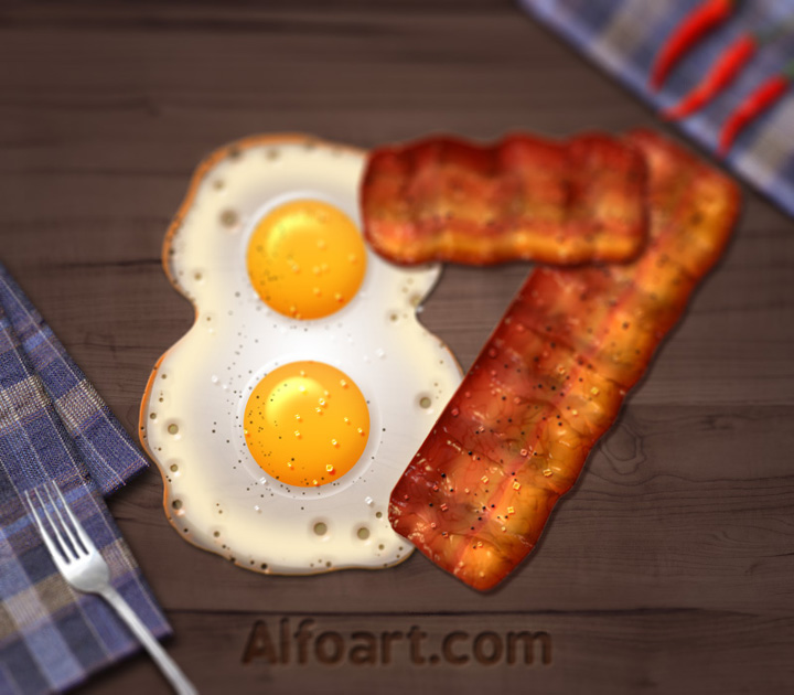 Food Typography Eggs and Bacon Text Effect Adobe Photoshop Tutorial