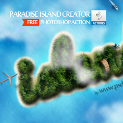 Paradise Island with Sandy Beach Photoshop Creator psd-dude.com Resources