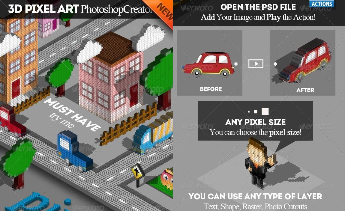 Isometric 3D Pixel Art Photoshop Creator