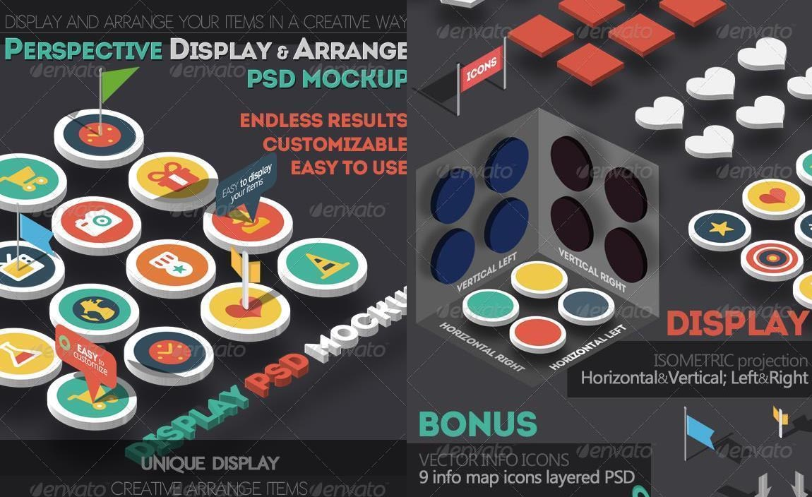 Isometric Perspective Display and Arrange PSD Mockup
