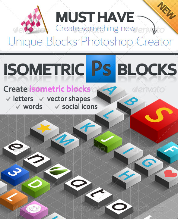 3D Isometric Scrabble Photoshop Creator
