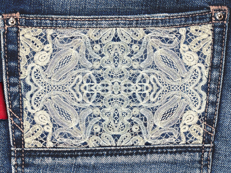 Jeans And White Lace Texture Free
