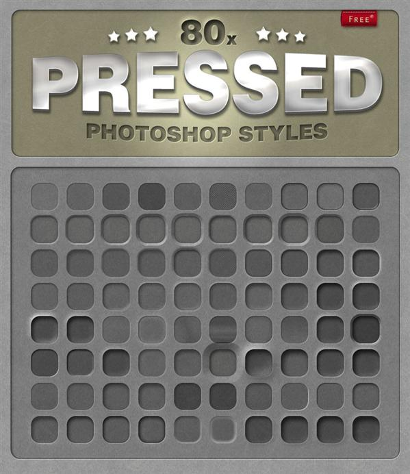 80 Free Photoshop Pressed Styles by designercow photoshop resource collected by psd-dude.com from deviantart