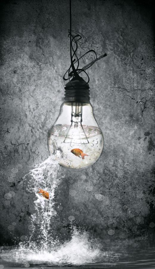 Light Bulb Aquarium Photo Manipulation