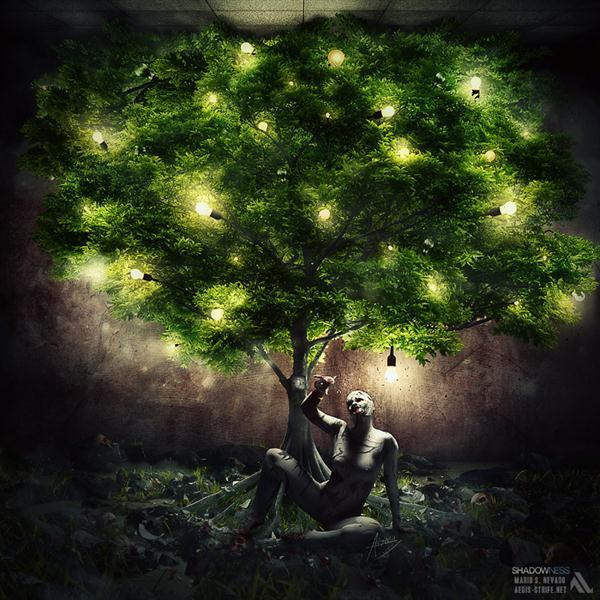 Light Bulb Tree Shines in Darkness Photo Manipulation