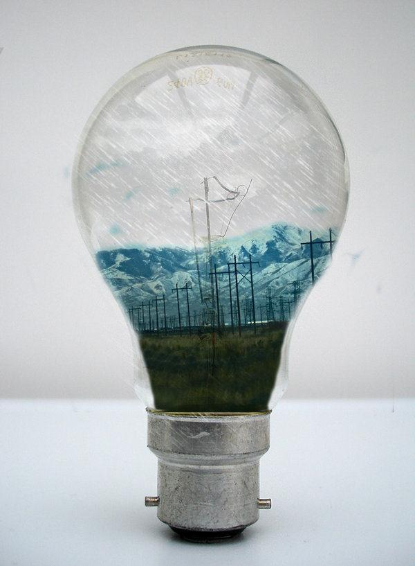 Power Lines inside a Light Bulb Photo Manipulation