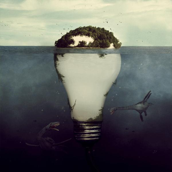 Underwater Light Bulb Photo Manipulation