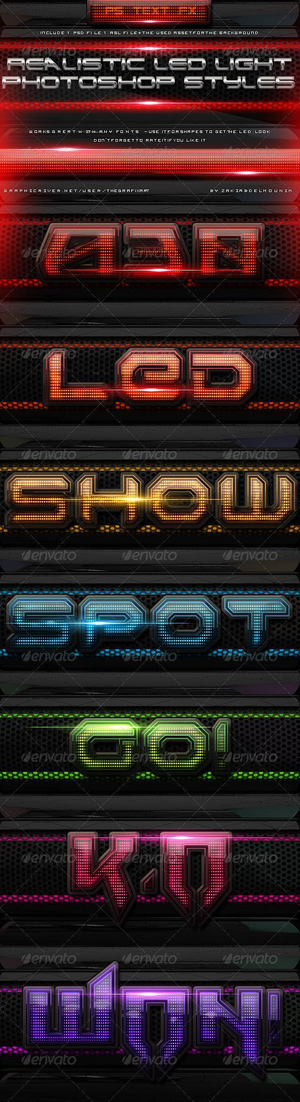 Led Light Text Style for Photoshop