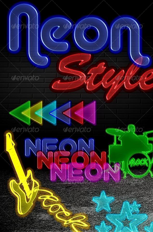Neon Glowing Photoshop Styles