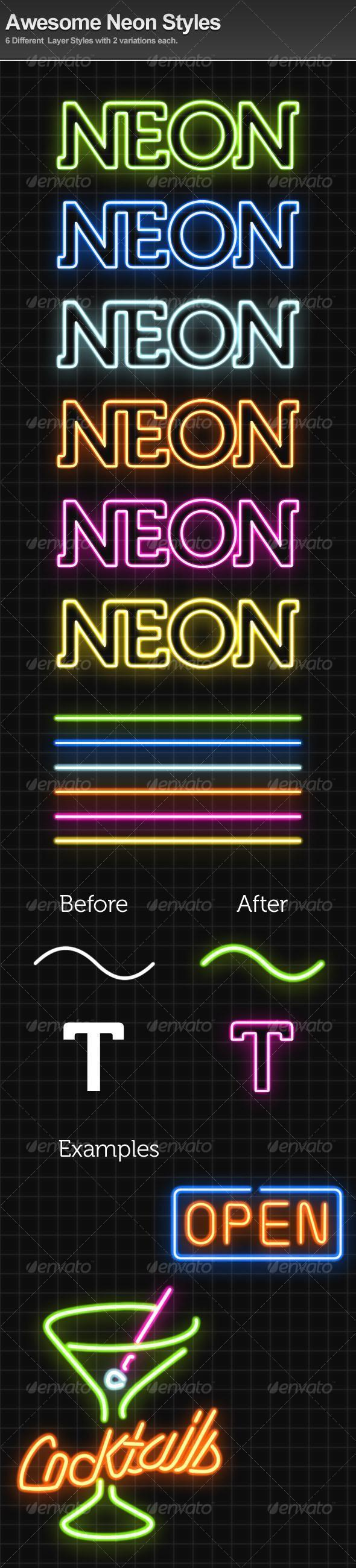 Neon Light Photoshop Text Styles