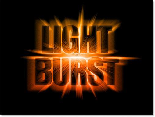 Light burst text effect in Photoshop