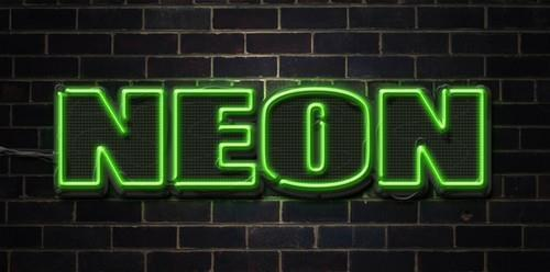 Neon Text Style with Brick Background