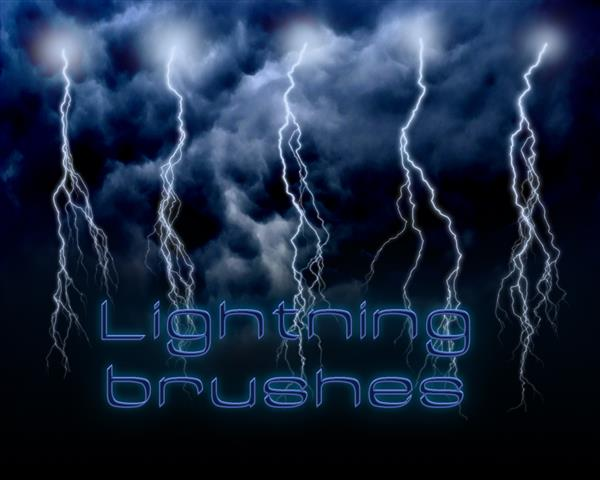 Lightning brushes Hi Res by Bull53Y3 photoshop resource collected by psd-dude.com from deviantart