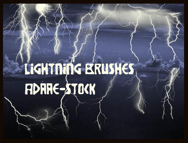 Lightning brushes by Adaae-stock photoshop resource collected by psd-dude.com from deviantart