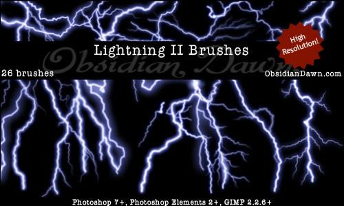 Lightning II Brushes by redheadstock photoshop resource collected by psd-dude.com from deviantart