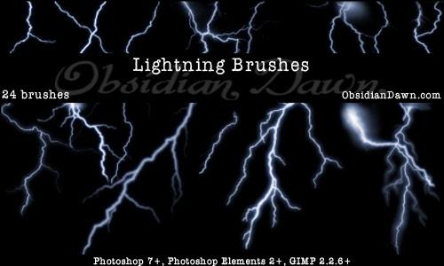 Lightning Photoshop Brushes by redheadstock photoshop resource collected by psd-dude.com from deviantart