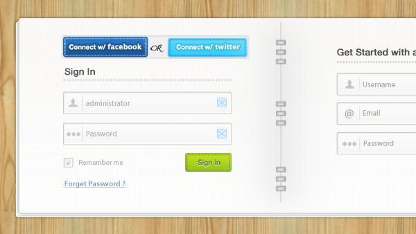 Login signup form PSD