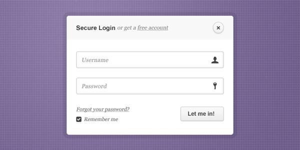 Single Login Form PSD