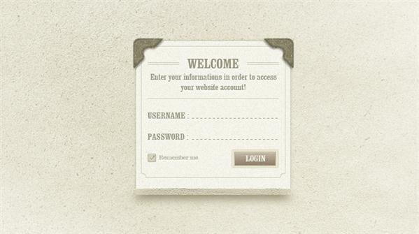 Vintage Retro Login Form PSD