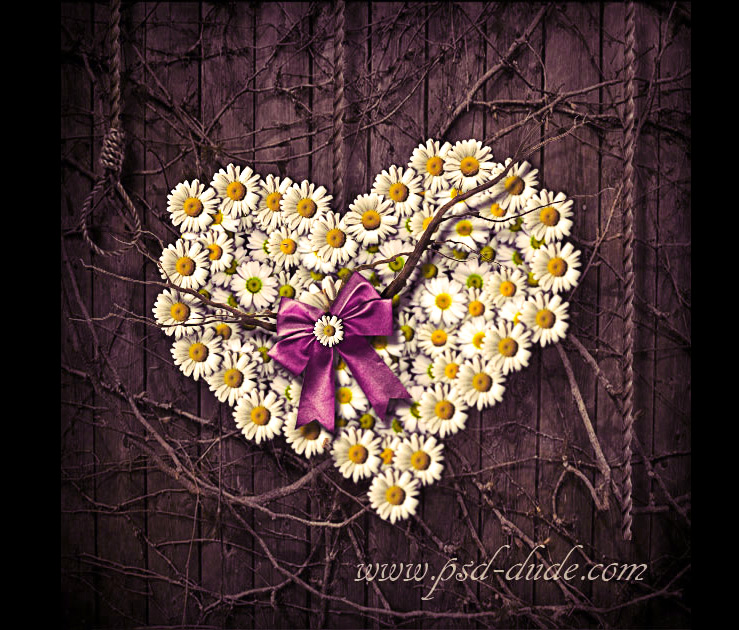 Create a Heart Shaped Flowers Design in Photoshop