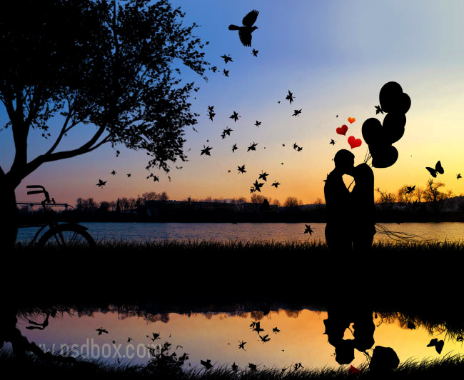 Couple Kissing Vector Silhouette Wallpaper in Photoshop