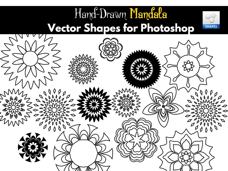 hand-drawn mandala flower vector shapes for photoshop