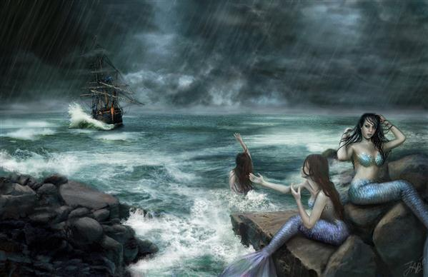 Sirens on the Rocks Photo Manipulation