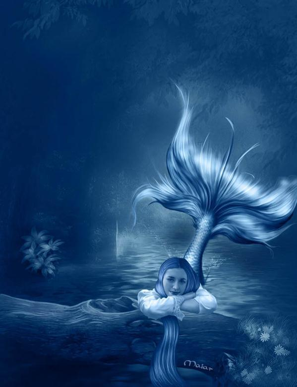 Underwater Blue Mermaid Photo Manipulation