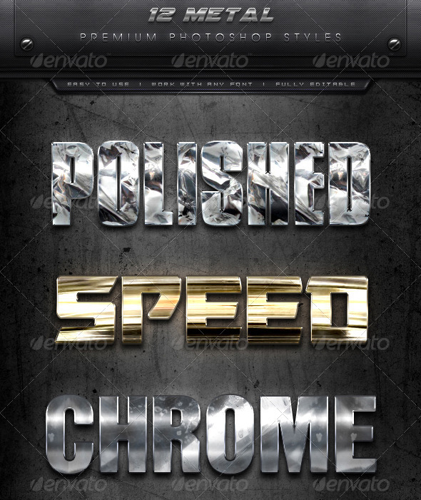 12 Photoshop Polished Metal Styles - Premium
