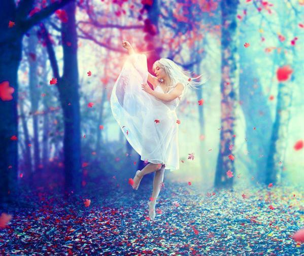 Photoshop manipulation Emotional dancer in forest with beautiful light effects