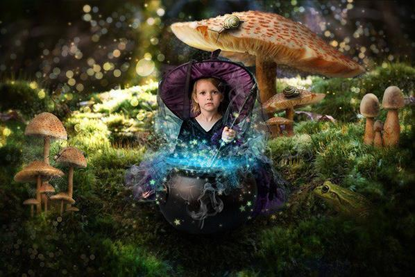 Turn baby photo into fairy tale queen witch in Photoshop