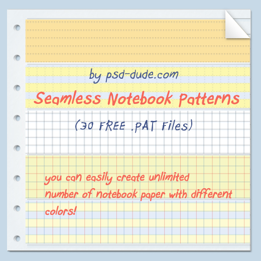 Free Photoshop Notebook Pattern by psd-dude