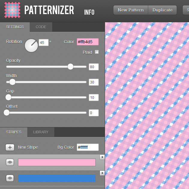 Pattern images generator for Online house maker