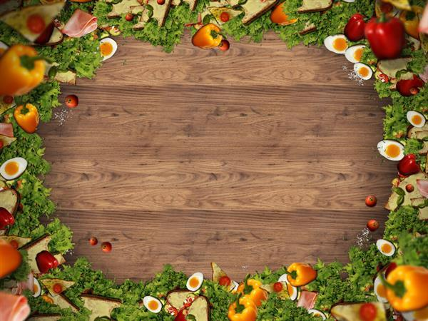 Wood Background Image With Food