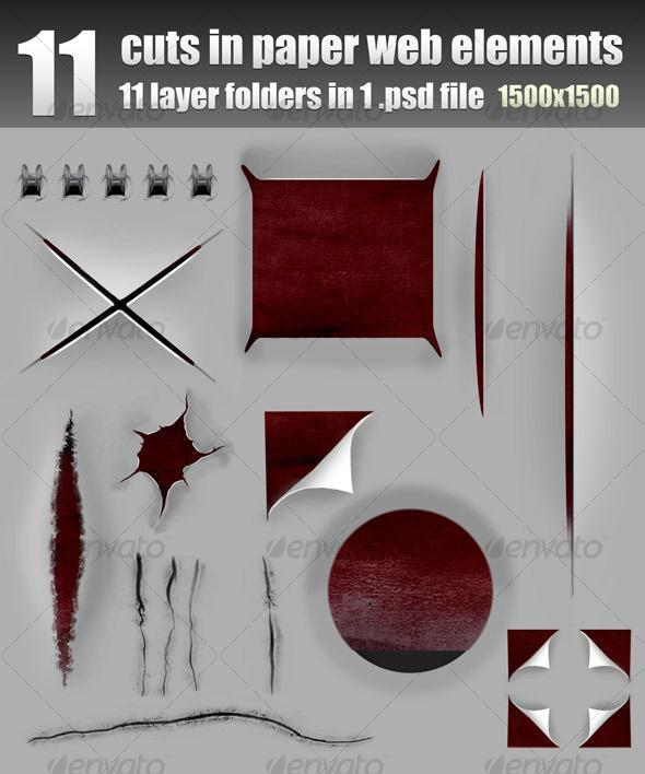 Cut Holes Torn Curl Page Effects PSD - Premium