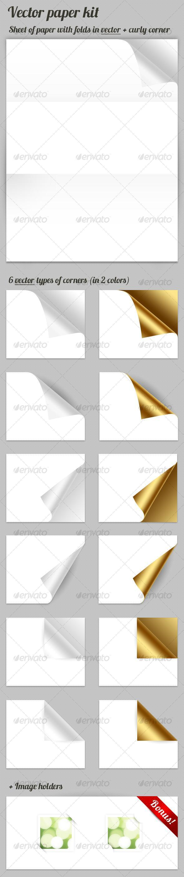 Vector Paper with Curl Page Corner PSD - Premium