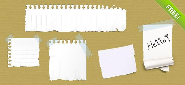 5 Ripped Torn Paper Notes PSD - Free