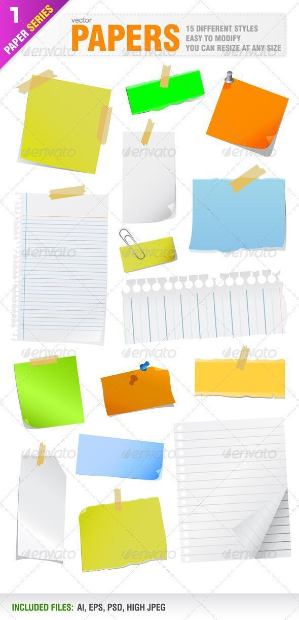Colorful Paper Note PSD - Premium