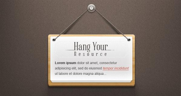 Hang Note Paper Wood Sign PSD - Free
