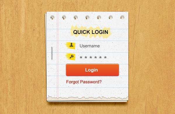 Paper Note Login Form PSD - Free