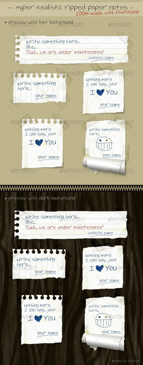 Ripped Torn Paper Notes PSD - Premium