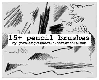 15 Pencil Brushes by gamblingwithsouls photoshop resource collected by psd-dude.com from deviantart
