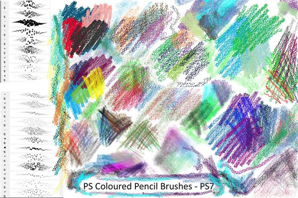 Coloured Pencil Brushes PS7 by Dark-Zeblock photoshop resource collected by psd-dude.com from deviantart